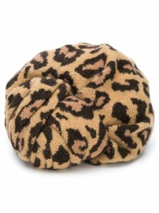 Valentino Pre-Owned 1980's leopard knitted hat - NEUTRALS