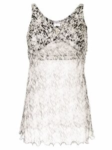 Chanel Pre-Owned Camellia Mademoiselle motif sleeveless top - White