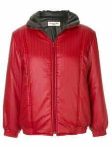 Christian Dior Pre-Owned striped logo padded jacket - Red
