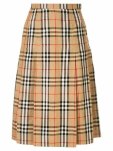 Burberry Pre-Owned house check pleated skirt - Brown