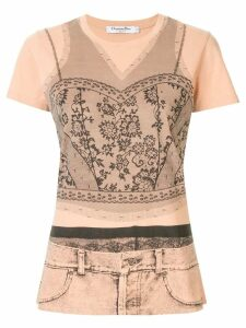 Christian Dior Pre-Owned 1990s lace print T-shirt - Brown