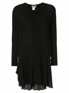 Yohji Yamamoto Pre-Owned ruffled longsleeved playsuit - Black