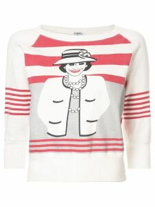 Chanel Pre-Owned coco chanel print sweater - White
