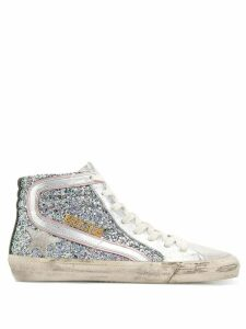 Golden Goose Slide sparkle sneakers - SILVER