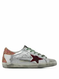 Golden Goose glitter heel Superstar sneakers - SILVER