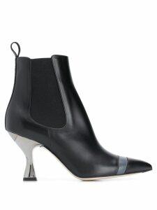 Fendi pointed toe hybrid boots - Black