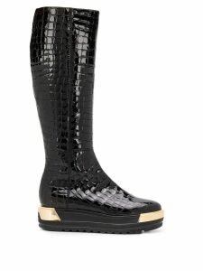 Baldinini embossed croc effect boots - Black