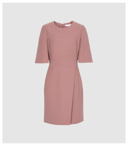 Reiss Myra - Tailored Wrap Front Dress in Pink, Womens, Size 16