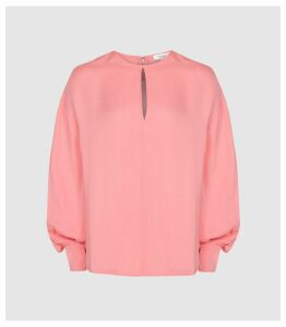 Reiss Alana - Keyhole Detail Blouse in Pink, Womens, Size 14