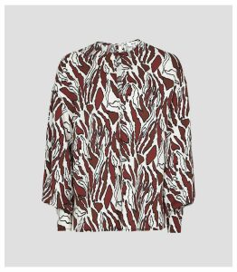 Reiss Alana Print - Tiger-print Blouse in Brown/white, Womens, Size 14