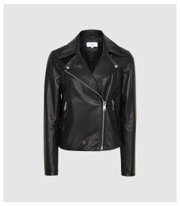 Reiss Geo - Leather Biker Jacket in Black, Womens, Size 14