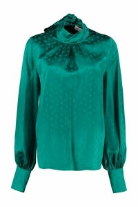 The Attico Jacquard Blouse With Ruffles On The Neckline