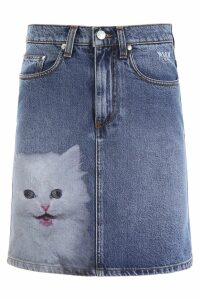 MSGM Denim Mini Skirt With Cat Print