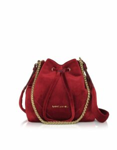 Lancaster Paris Quilted Velvet Couture Small Bucket Bag