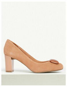 M&S Collection Wide Fit Suede Almond Trim Court Shoes