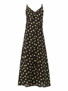Belize - Kim Floral Print Ruffle Trim Cotton Midi Dress - Womens - Black Print