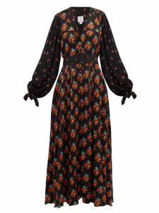 Gül Hürgel - Contrast-sleeve Belted Poplin Dress - Womens - Navy Print