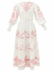 Evi Grintela - Evanthia Paisley-print Silk Maxi Shirtdress - Womens - Multi