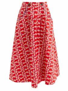 Gül Hürgel - Floral-print Shawl-collar Dress - Womens - Navy Print