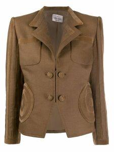 Valentino Pre-Owned 1990's velvet appliqués fitted blazer - Brown