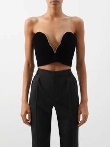 Miu Miu - Bow-trim Wool-blend Cardigan - Womens - Dark Grey