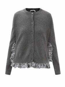 Preen By Thornton Bregazzi - Sara Oak Leaf-print Ruffled Satin Blouse - Womens - Black Multi