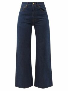 Peter Pilotto - Ruffled Balloon-sleeve Silk-crepe Blouse - Womens - Navy