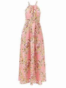 Loewe - High Neck Striped Poplin Blouse - Womens - Navy Multi