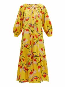 Borgo De Nor - Natalia Lip And Floral-print Cotton Midi Dress - Womens - Yellow Multi