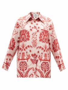 HVN - Maria Bird-print Silk Midi Dress - Womens - Blue
