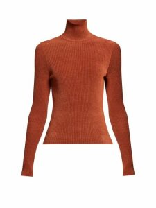 Alexandre Vauthier - High-neck Ribbed Chenille Sweater - Womens - Brown