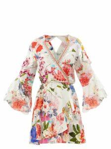 Borgo De Nor - Mila Floral-print Cross-back Poplin Dress - Womens - White Multi