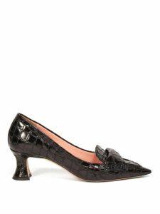 Rochas - Point Toe Crocodile Effect Leather Pumps - Womens - Black