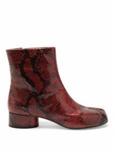 Maison Margiela - Tabi Split Toe Python Effect Leather Boots - Womens - Black Red