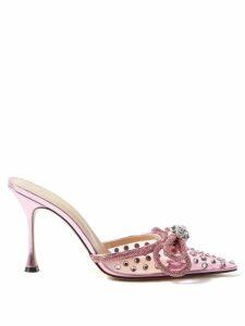 Maison Margiela - Tabi Split Toe Holographic Heel Leather Boots - Womens - Black Red