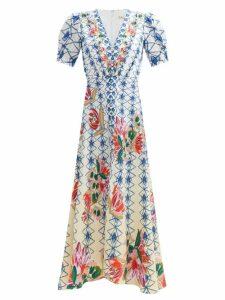 Maison Margiela - Tabi Split-toe Snake-print Leather Pumps - Womens - Black White