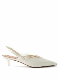 Saint Laurent - Oak Tiger Print Calf Hair Buckle Sandals - Womens - Black White