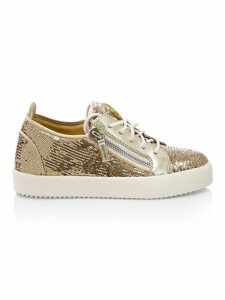 Side Zip Sequin Leather Platform Sneakers