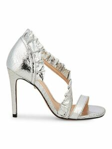 Aime Cracked Metallic-Leather d'Orsay Sandals