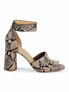 Thandie Embossed Leather Ankle-Strap Sandals