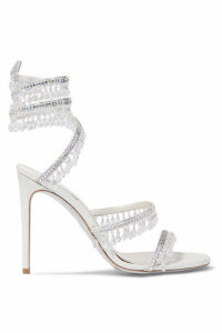 René Caovilla - Cleo Embellished Metallic Satin And Leather Sandals - Silver