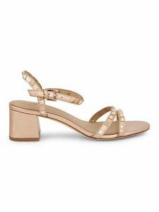 Iggy Studded Metallic-Leather Block Heel Sandals