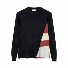 Rosetta Getty Navy Ribbed Jersey Jumper