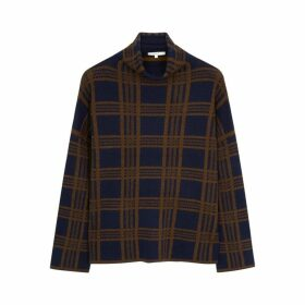 Vince Navy Checked Wool-blend Jumper