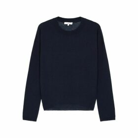 Vince Navy Wool-blend Jumper