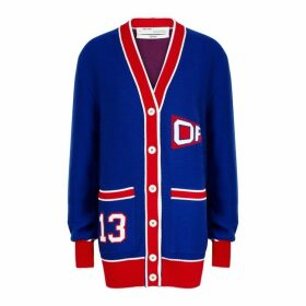 Off-White Blue Intarsia Wool-blend Cardigan