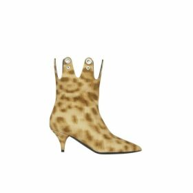 Burberry Eyelet Detail Leopard Print Ankle Boots