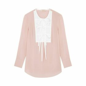 Tory Burch Light Pink Tie-embellished Silk Blouse