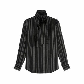 Altuzarra Visage Striped Metallic-weave Blouse