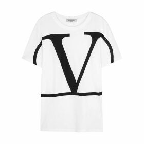 Valentino White Logo-print Cotton T-shirt
